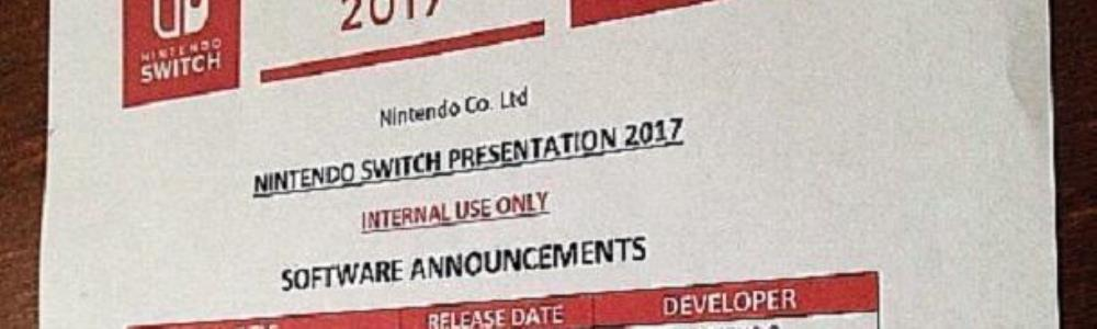 Rumor: Switch Presentation 2017 Leaked